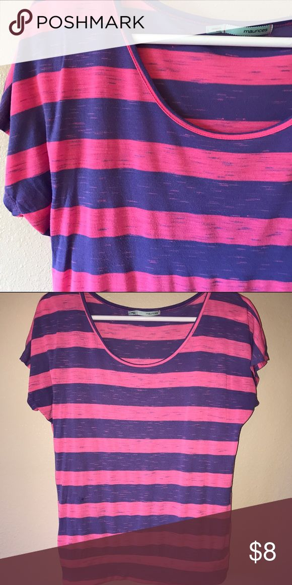 Maurice's Top Pink and purple short sleeve top with banded bottom. Size is large but it fits like a medium. This shirt is so cute, fun colors! Maurices Tops Blouses