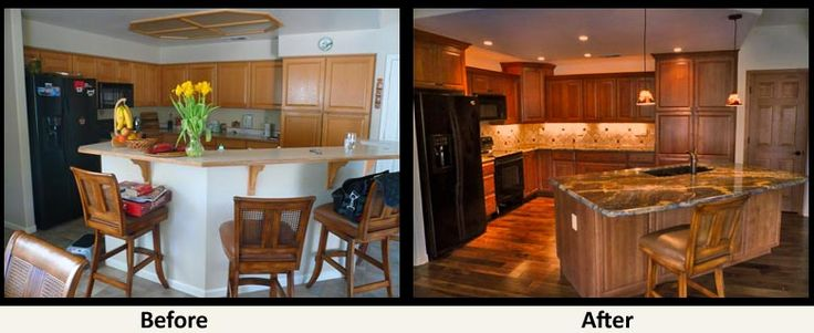 Kitchen remodel before after renovations pinterest for Small kitchen remodel before and after