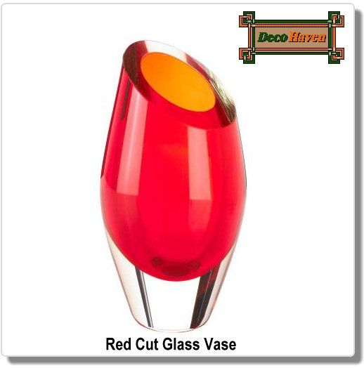 Red Cut Glass Vase - Wow! Place this vibrant red vase on your tabletop or shelf and watch as the compliments comes rolling in. The dramatic angled opening makes it a modern yet timeless piece of art for your home.  Only $34.97 plus FREE shipping!