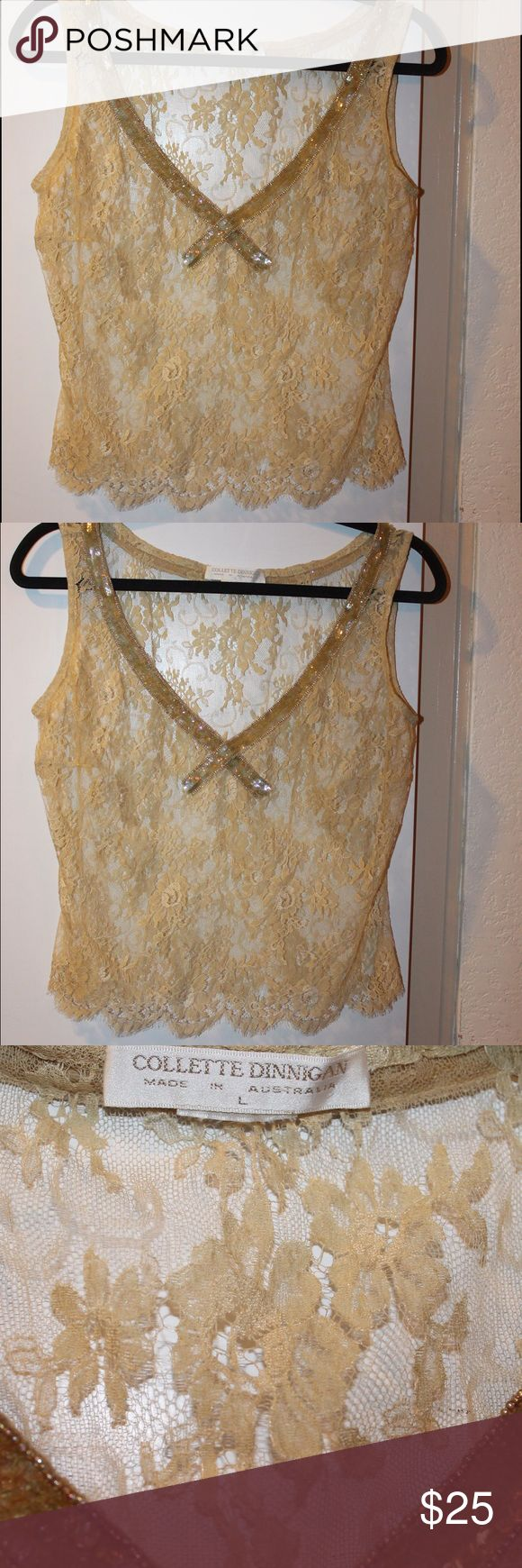 Sequined lace and scalloped sheer crop top Sequined lace and scalloped sheer crop top by Collette Dinnigan made in Australia size L Collette Dinnigan Tops