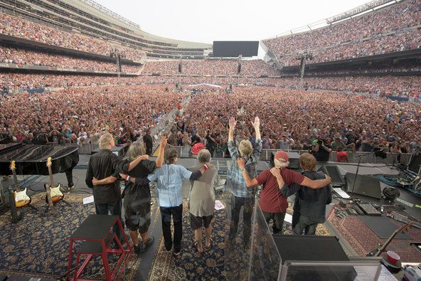Members and guests of the Grateful Dead, from left, on stage on Sunday at Soldier Field in Chicago: Bruce Hornsby, Jeff Chimenti, Mickey Hart, Bob Weir, Phil Lesh, Bill Kreutzmann and Trey Anastasio.