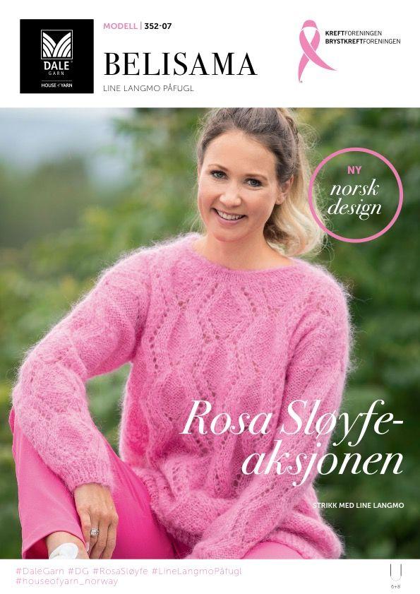 Rosa Sløyfe  I OKTOBER STRIKKER VI ROSA SLØYFE-GENSER Line Langmo fronter Rosa Sløyfe-aksjonen 2017 med sitt eget garn; Line Langmo Påfugl – et superpopulært, luftig og lekkert garn i luksusmohair med høy trendfaktor. Nå ønsker hun å inspirere