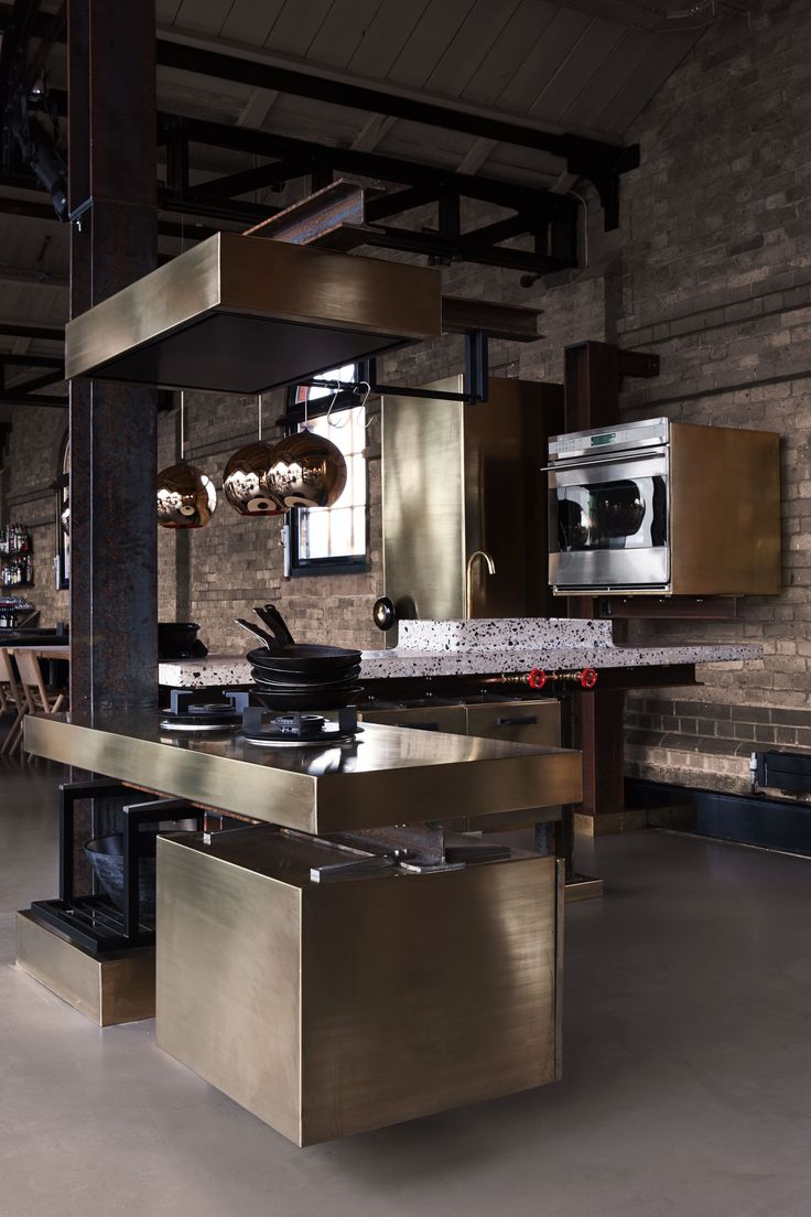 The TD Beam Kitchen, Designed By Tom Dixon And Lindholdt Studio, Features  Brass Clad Work Surfaces And Cabinetry. The TD Beam Kitchen Shown Here  Kitchen ...