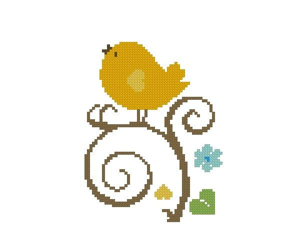 Cross stitch pattern PDF Cute Yellow Bird Instant Download by CrossStitchForYou on Etsy
