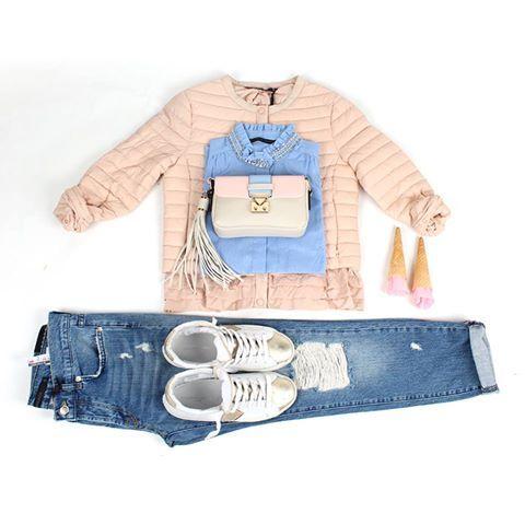 Nello store Poncarale - Collezione SS16 Quanto amiamo i colori pastello! Camicia + piumino 100g. + jeans + mini-bag Silvian Heach Scarpe #PhilippeModel