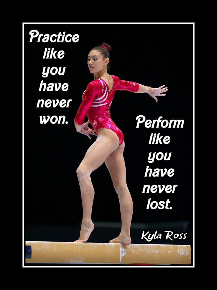 "Gymnastics Motivation Poster Kyla Ross Gymnast Photo Quote Wall Art Print 5x7""- 11x14"" Practice Like U Never Won - Perform Like U Never Lost by ArleyArt on Etsy"