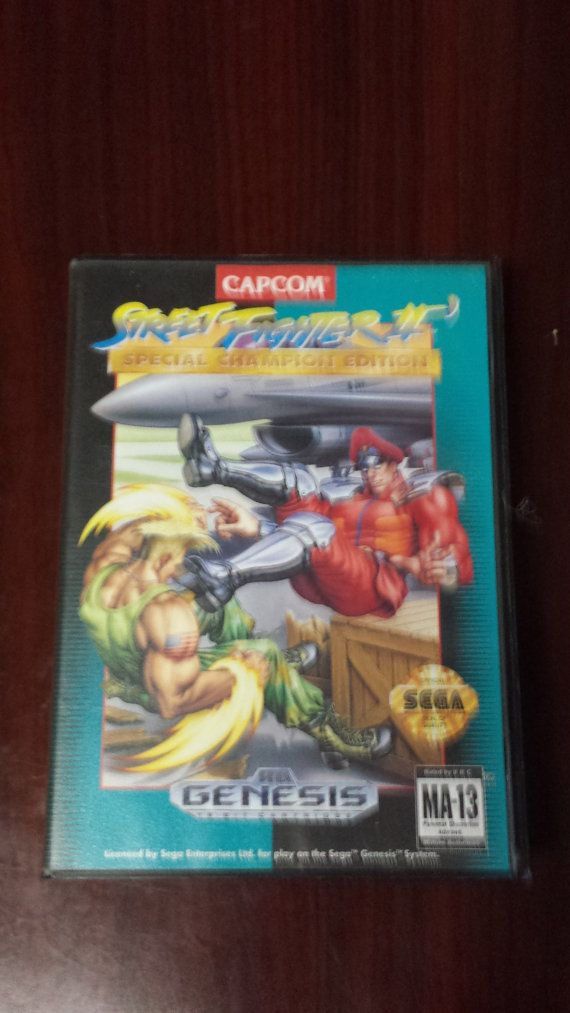 Street Fighter 2 Game  Box and  Manual Sega by VintageVigalante, $7.99