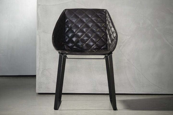 Chair with quilted upholstered seat and back - Lepere