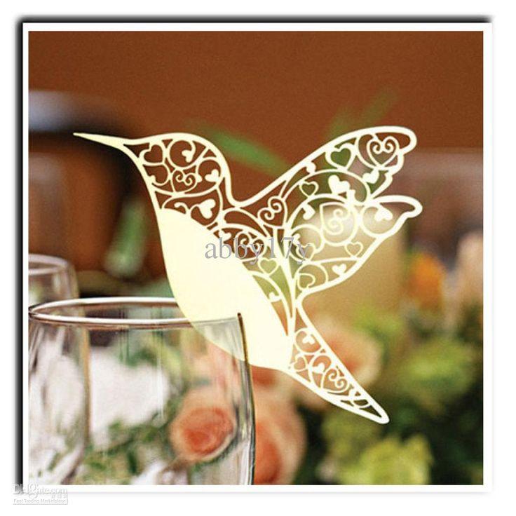 Laser cutting wedding decoration Pretty Bird shape wine glass place cards BKXN010