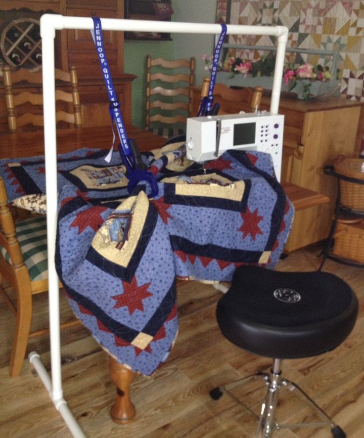 """Quilt Suspenders And Stand; these help prevent a """"drag"""" on the quilt so that the stitches remain consistent rather than regular stitches alternating with very tiny stitches all bunched up"""