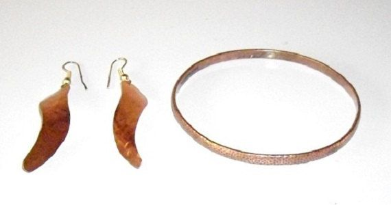 Vintage Hammered Copper Bangle and Dangle Earrings by designfrills, $21.00