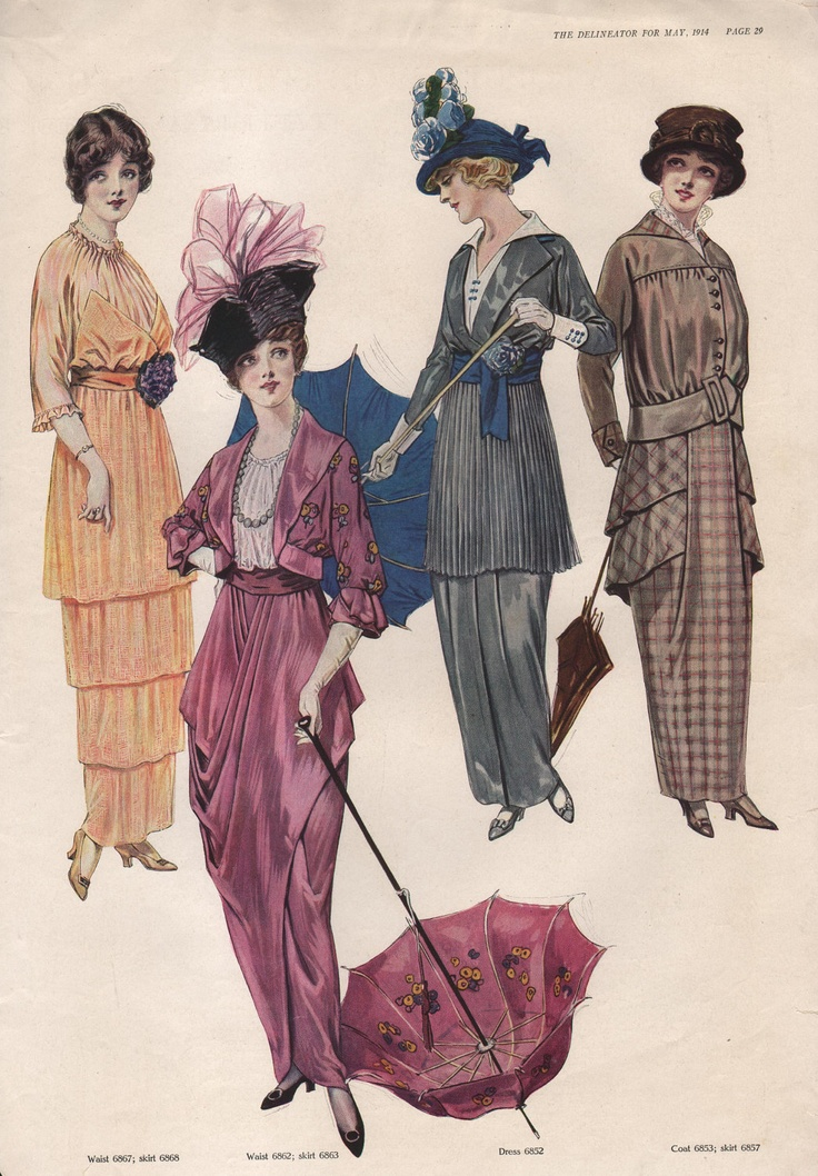 May 1914 Edwardian Fashion Print  from the The Delineator Magazine