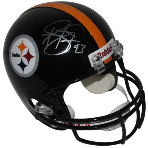 factory price 3ffe8 9712a Steelers Troy Polamalu Signed Full Size Rep Black Helmet ...