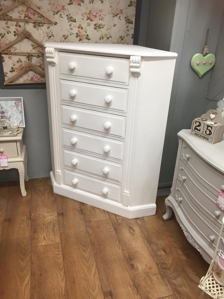 Beautiful white wash corner chest of drawers. Fab addition to any #shabbychic bedroom.