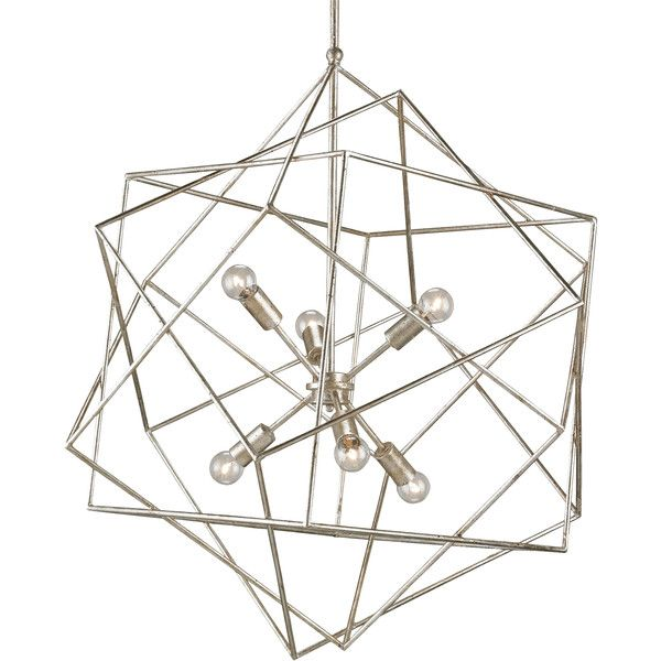 Dade Geometric Modern Silver Cubes Chandelier (£1,240) ❤ liked on Polyvore featuring home, lighting, ceiling lights, silver light, silver chandelier, geometric light, silver lights and geometric lighting