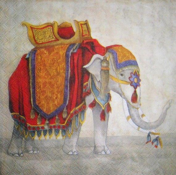 Serviette en papier déco Inde- Elephant de cérémonie royale-rare : Serviettage, Décopatch par comptoir-p-titsanges