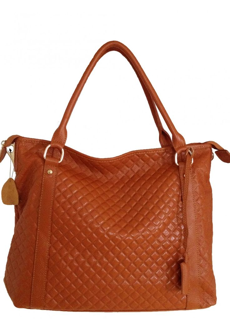 Rina -- Women's Large Brown Leather Tote Bag