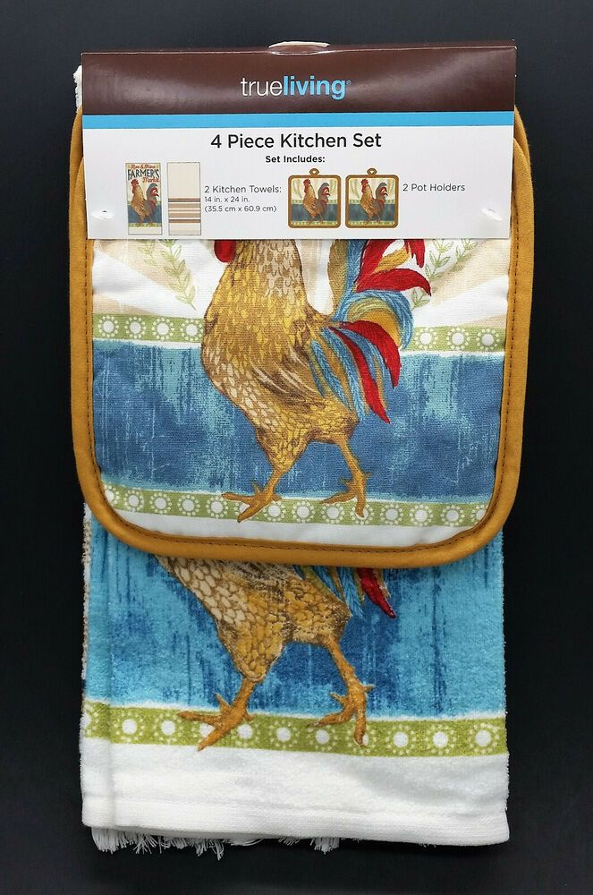 4 Pc Rooster Country French Farmhouse Decorative Kitchen Towel Pot Holder Set Trueliving Countryfarmhous Decorative Kitchen Towels Pot Holders Kitchen Towels
