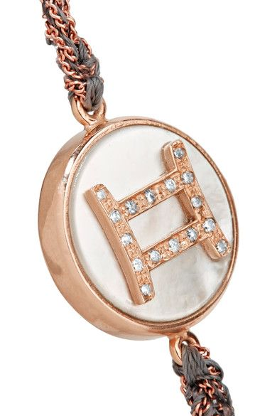 Carolina Bucci - Gemini Lucky Zodiac 18-karat Rose Gold, Diamond, Mother-of-pearl And Silk Bracelet - one size