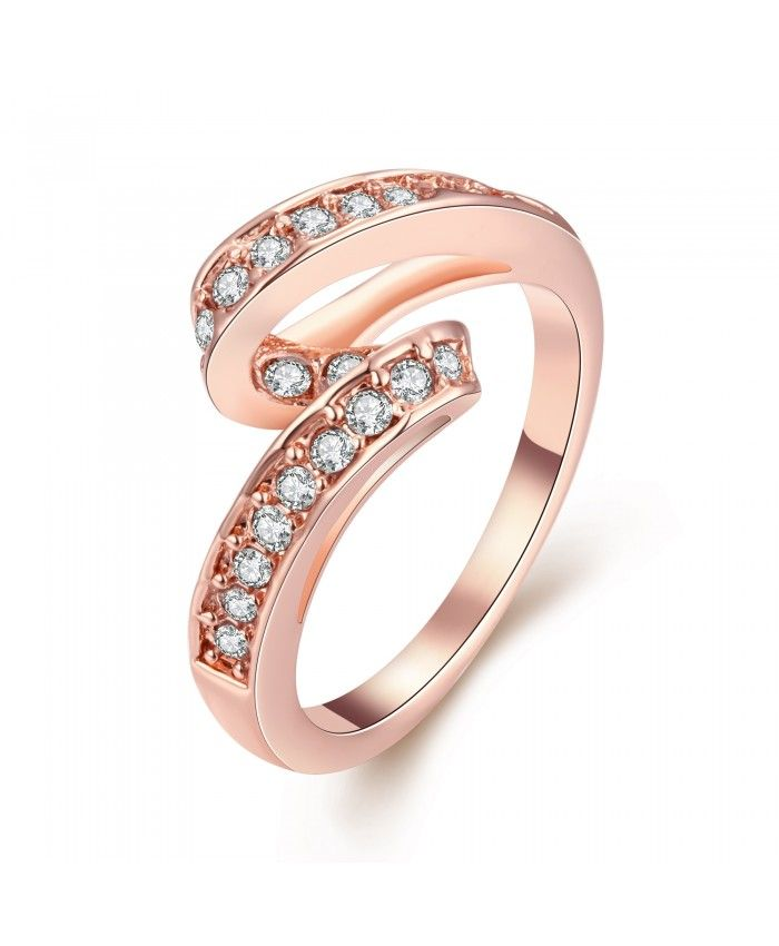 Charming Rose Gold Plated Ring High Quality R034-A-8 Nickle Free Antiallergic Fashion Jewelry
