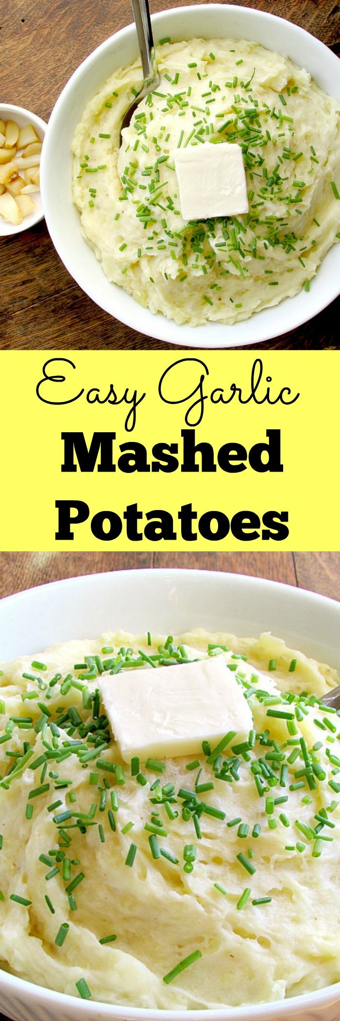 Easy Garlic Mashed Potatoes - These potatoes are so much more flavorful than regular mashed potatoes, and with just a little bit more effort! It only takes 6 ingredients! | www.louloubiscuit.com