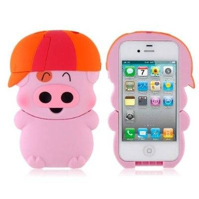 Pink Mcdull Lovely Pig Design PC Protective Case for iPhone 4/4S