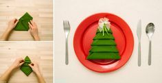 Simple yet decorative way of folding table cloth for Christmas