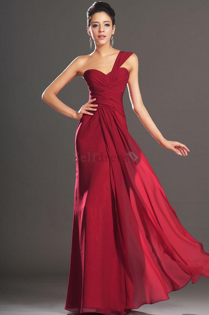 Elegant & Luxurious Dropped Waist One Shoulder Pleated Bodice Sleeveless Misses Chiffon Evening Dress