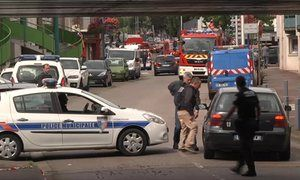 French president François Hollande says 'two terrorists who claimed to be from Isis' killed priest and took hostages in Saint-Étienne-du-Rouvray