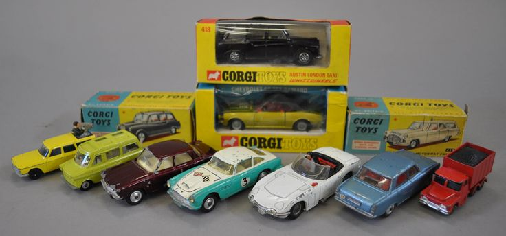 Lot 681 - Four boxed Corgi Toys: 418 Taxi two versions (G/VG in G boxes); 419 Ford Zephyr Motorway Patrol (