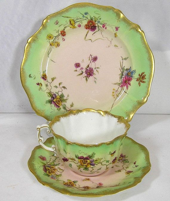Art Deco Fine bone china 1889 Pastel Pink and by TheMewsCottage