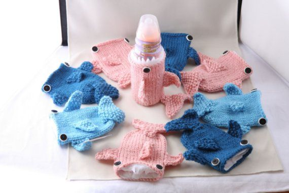 Baby Bottle Monster Shark with tail in Pink by HandaMade on Etsy, $18.00    @Debbie Facemire - Maybe this would help Daria hold her bottle?