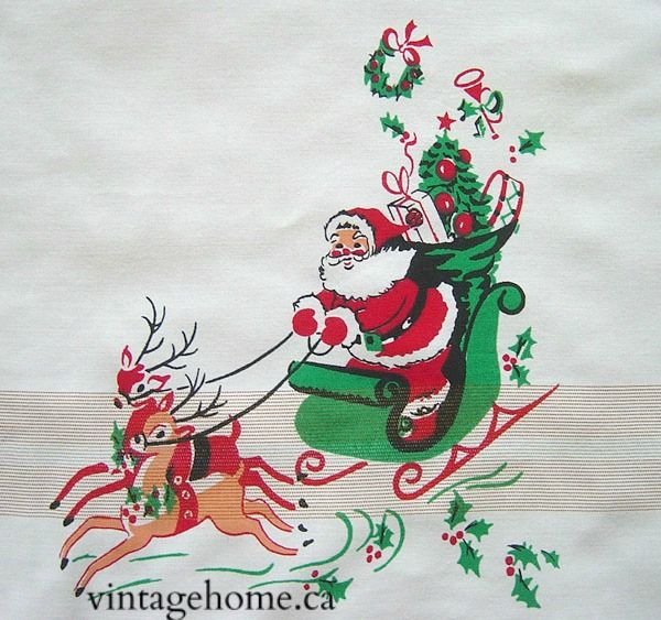 detail from a vintage christmas tablecloth santa reindeer