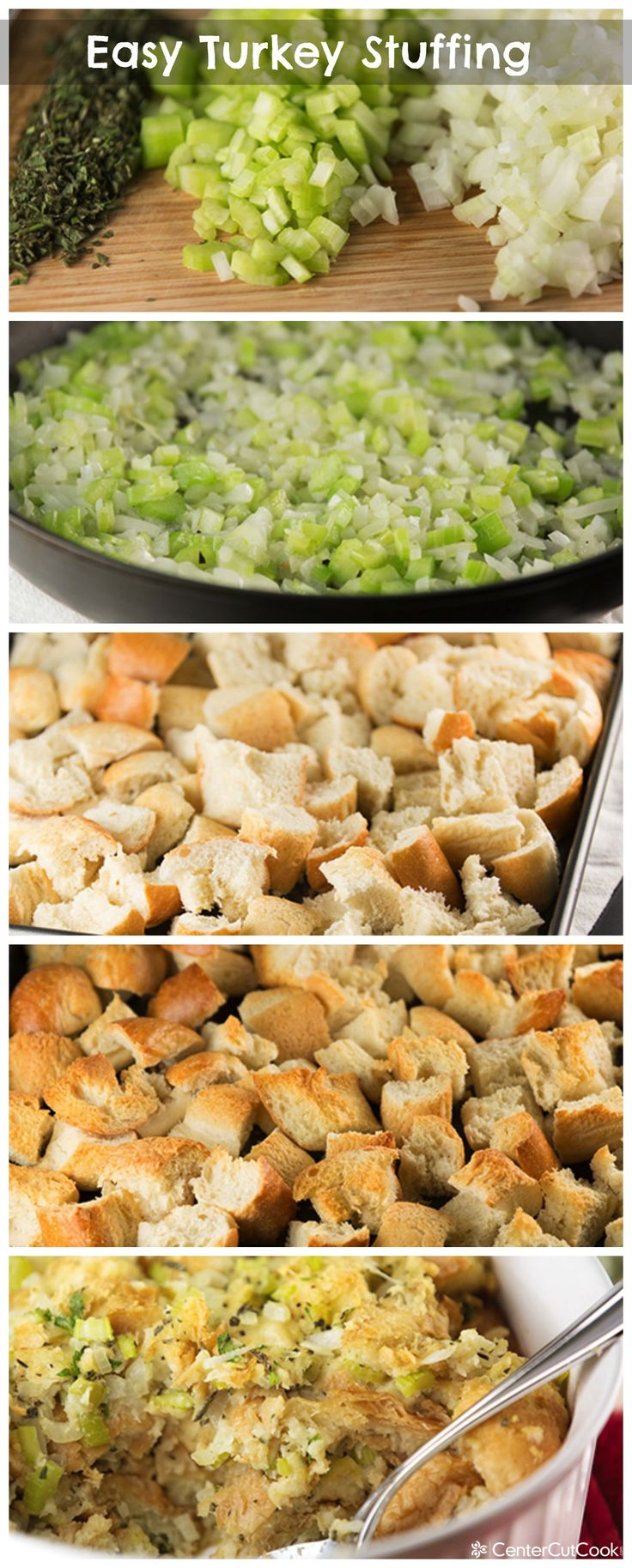 Easy Turkey Stuffing (or dressing, if you prefer) recipe that you will want on your table for Thanksgiving! #thanksgiving #stuffing