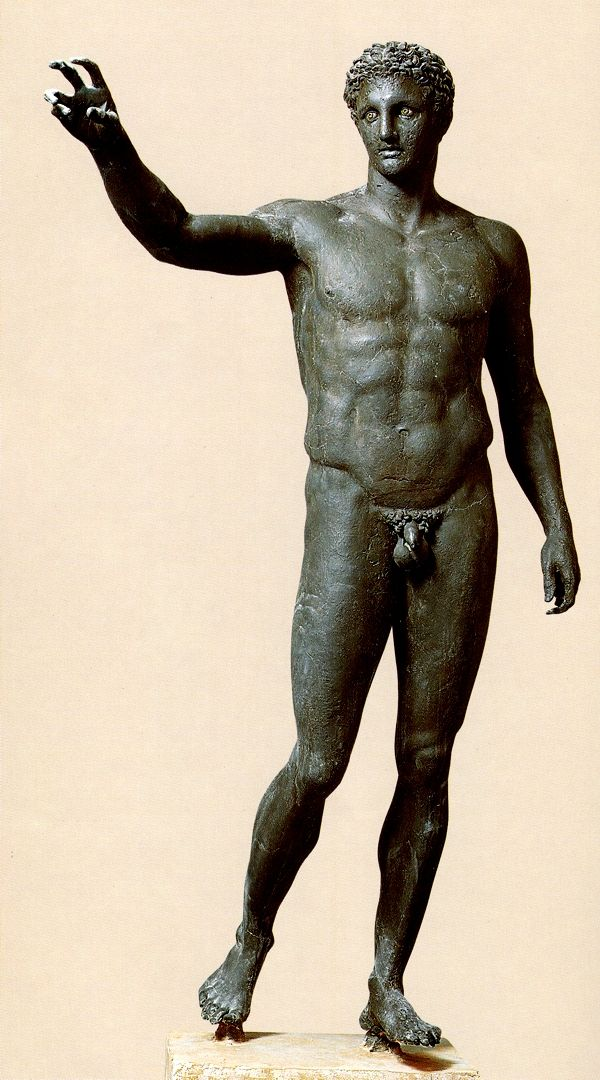 The Ephebe of Antikythera - bronze statue of a young man, a god or a hero who held a spherical object in his right hand (possibly Paris with the apple). It is one of the most brilliant products of the Peloponnesian bronze sculpture, perhaps the work of the famous sculptor Euphranor. It was found in the area of an ancient shipwreck off the island of Antikythera. Dated to 340 B.C. National Archaeological Museum of Athens