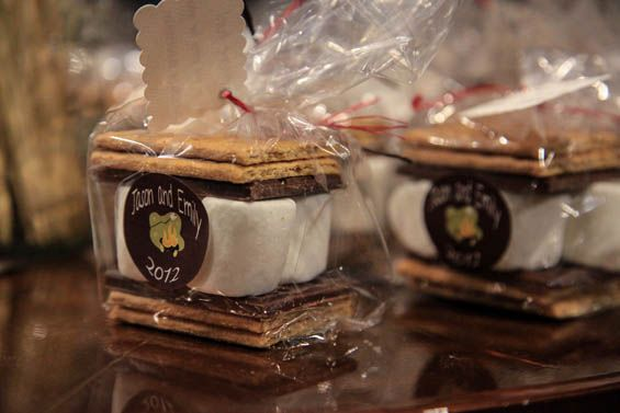 S'mores as wedding gifts. Great idea for a summer wedding, especially if you're gonna close the night with a bonfire.