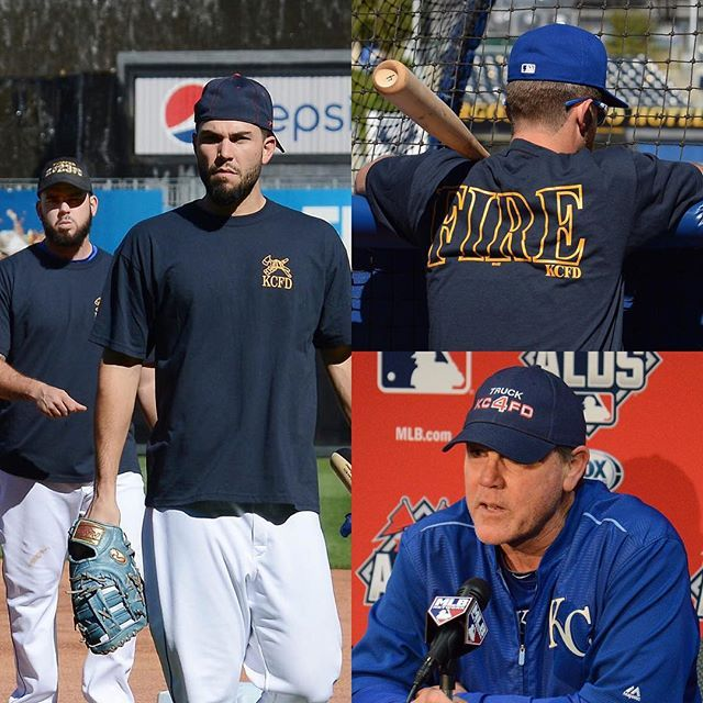The #Royals wore gear to honor the two fallen heroes of the Kansas City Fire Department at today's workout.