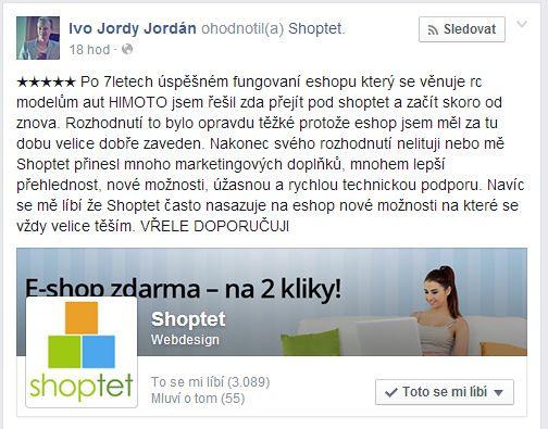 Naši klienti jsou na kvalitu a úroveň našich služeb www.shoptet.cz již zvyklí, málo kdy dostáváme zpětnou vazbu o jejich spokojenosti. Když se tak však stane, vždy nás to potěší :)