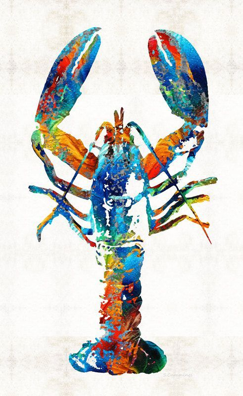Colorful Lobster Art Print Painting Maine Seafood Beach