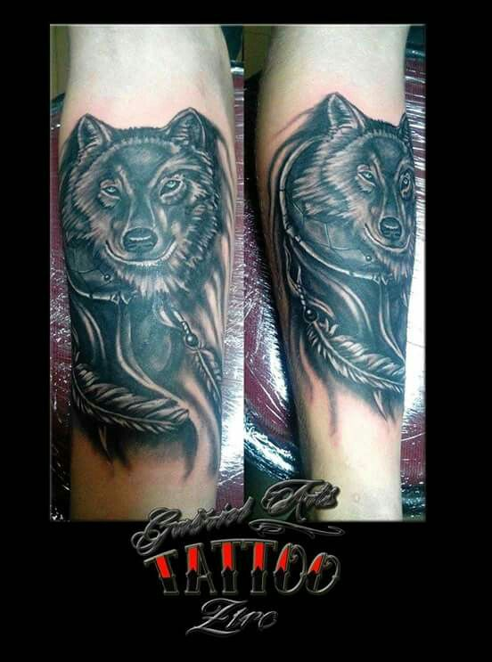 Wolf, dreamcatcher Tattoo