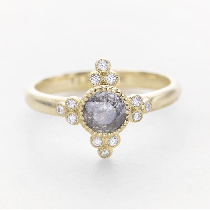 Grey rose cut diamond engagement ring with delicate milgrain and petite diamonds. A stunning vintage rose cut engagement ring. // roughluxejewelry.com