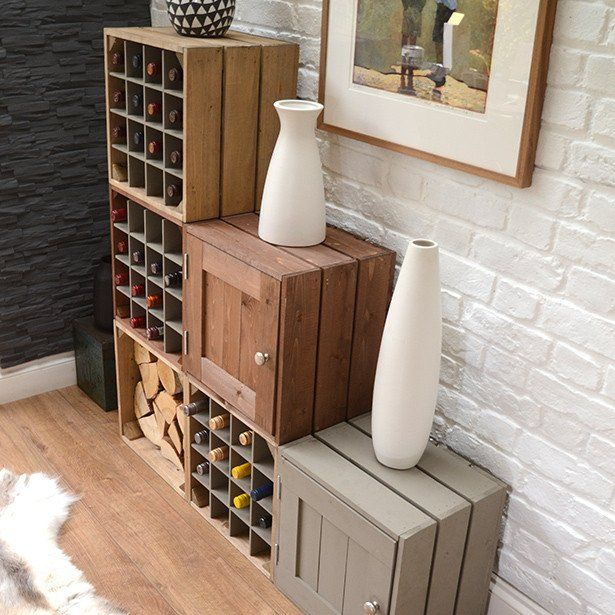 Wine storage cabinet | Grainandgray natural crates