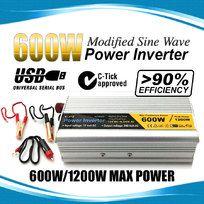 600W / 1200W 12V-240V Power INVERTER Modified Sine Wave Camping Caravan Boat