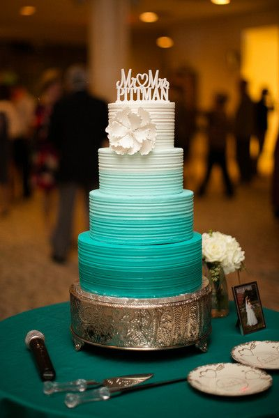 23 Blue Wedding Cake Ideas: Aqua blue ombre wedding cake white gumpaste flower and personalized cake topper {Amanda Hedgepeth Photography}