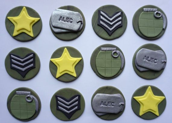 12 Army Military fondant cupcake toppers by TopperBuddies on Etsy