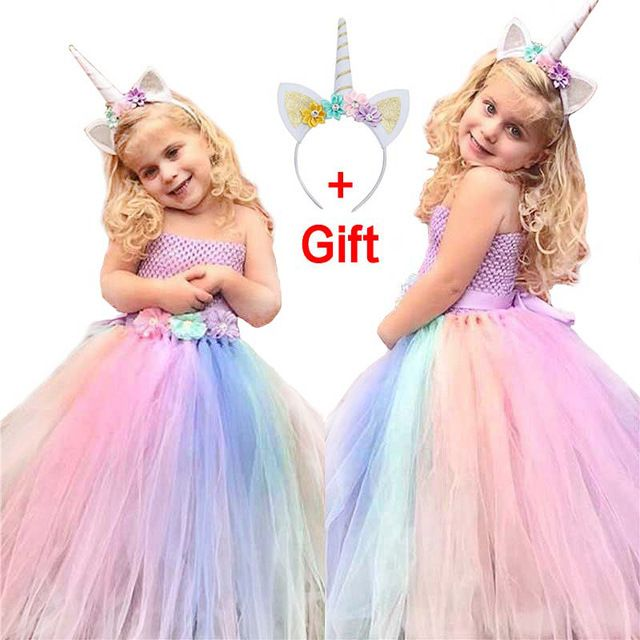 Flower Girls Unicorn Dress Princess Party Wedding Birthday Ball Gown Costumes