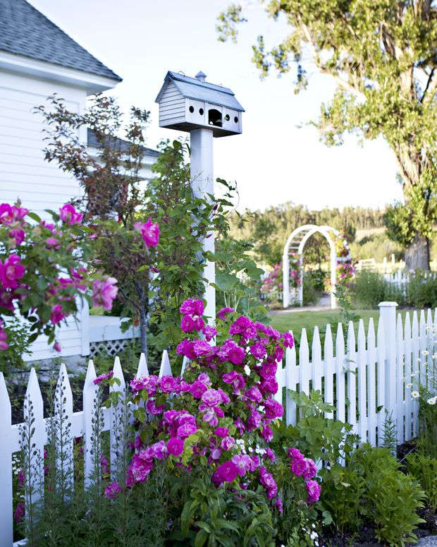 White Picket Fence With Purple Flowers And A Birdhouse
