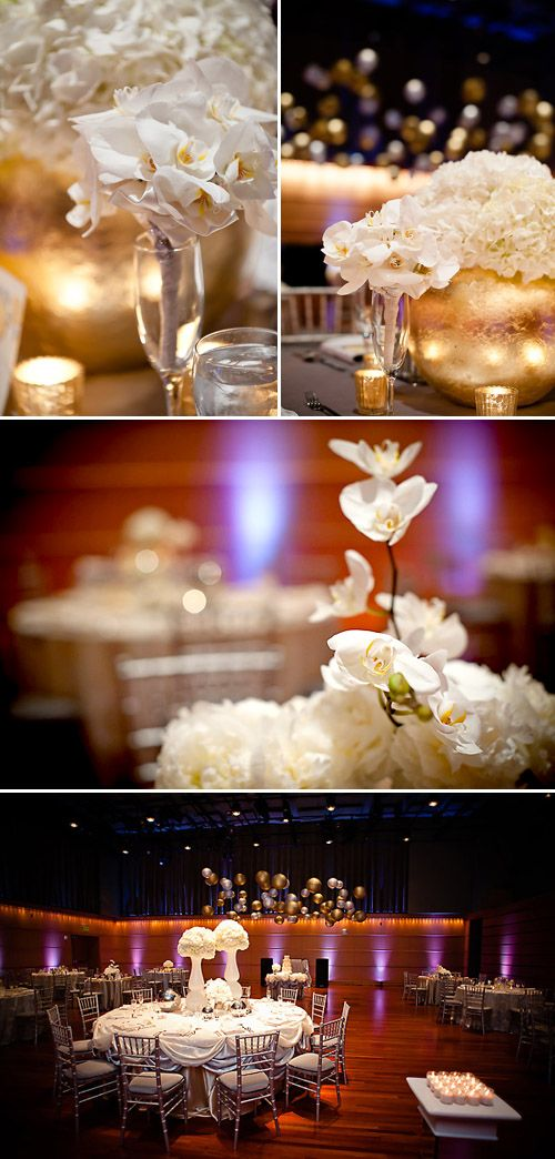 modern gold, silver and white wedding color ideas, photos by Krakora Studios
