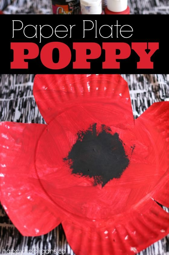 Paper Plate Poppy Craft for Toddlers and Preschoolers. An easy craft for young children when observing Remembrance Day, Veterans Day, Memorial Day etc. - Happy Hooligans