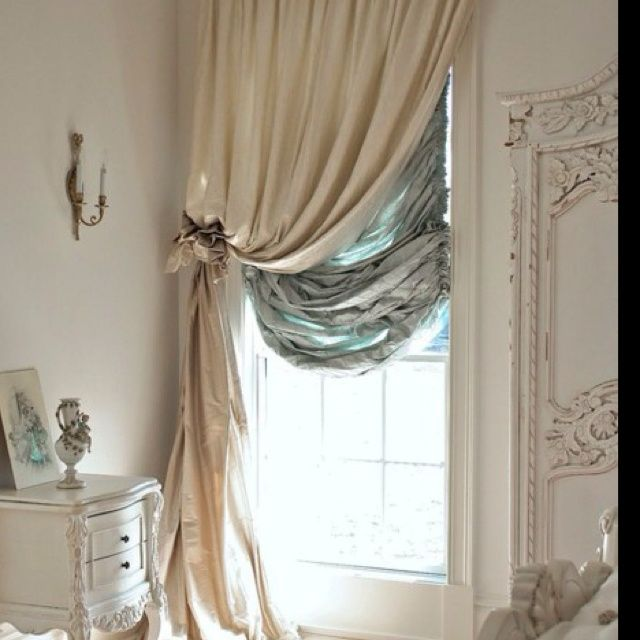 Gorgeous French Home House Decor Love The Curtains and Style. Shabby Chic  Glamour, Cream and Duck Egg Blue Window - thinking about this in my closet  room ... - 96 Best Curtains, Drapery + Shades Images On Pinterest Curtains